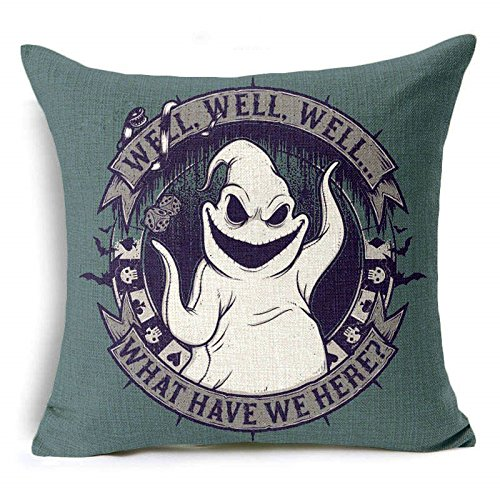 17.5 X 17.5 inches White Oogie Boogie Well Well Well Film Decorative Pillowcase, White Bogie Man Ghost Horror Themed Movie Cushion Cover Adventure, Square Shape Gift Nerd Fan, Linen
