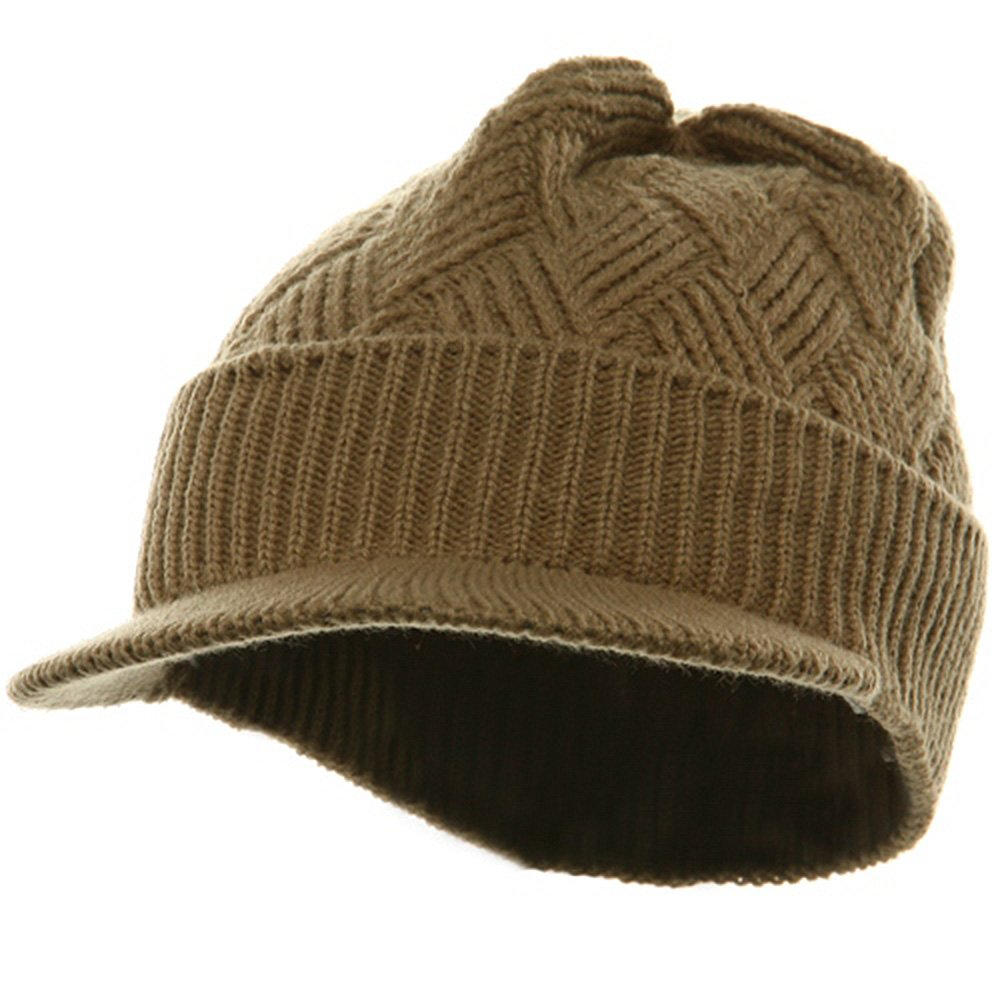 76753100341370 Rasta/NYE Acrylic Plain Beanie Visor-Khaki at Amazon Men's Clothing store: