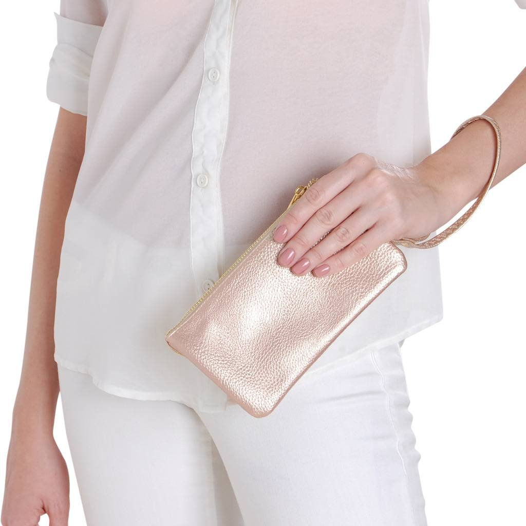 Humble Chic Vegan Leather Wristlet Wallet Clutch Bag - Small Phone Purse Handbag, Champagne Gold, Metallic by Humble Chic NY (Image #2)