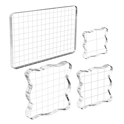 WeiMeet 4 Pieces Stamp Blocks Acrylic Clear Stamping Blocks Tools with Grid  Lines for Scrapbooking Crafts Making