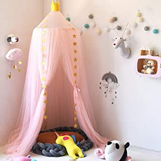 Bed Canopy for children, Thicken Mosqutio, Round Dome Bed Mantle, Baby Indoor Outdoor Reading Tent, Bed & Bedroom Decoration, Insect Net Protection(White)