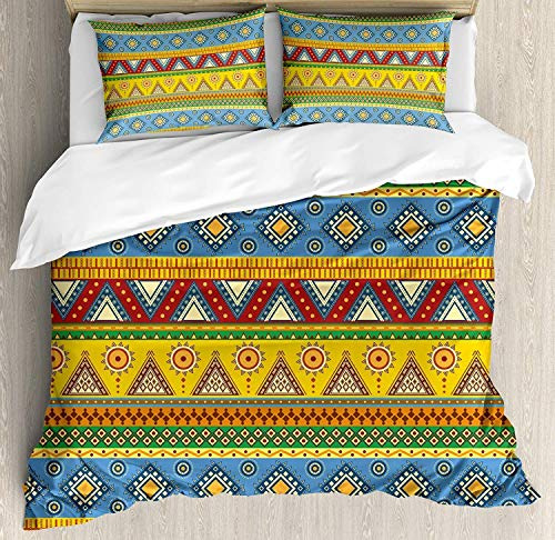 Aztec Bedding Duvet Cover 3 Piece Set, Traditional Classic Tribal Style Folk Motif with Sun Figure Ancient Mexican Culture Image, Hypoallergenic Microfiber Comforter Cover and 2 Pillow Cases - Queen