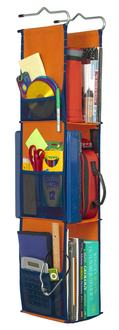 LockerWorks 3 Shelf Hanging Locker Organizer, 22-38 Inches Tall, Side Pockets, Suspends from Hooks, Shelf, or Closet Rod - Orange/Navy Blue