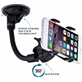 Car mobile holder Combo by Meya Happy™ for car windshield Glass with Latest lock based air suction cup system for super strong grip | soft tube arm with 360 degree rotation