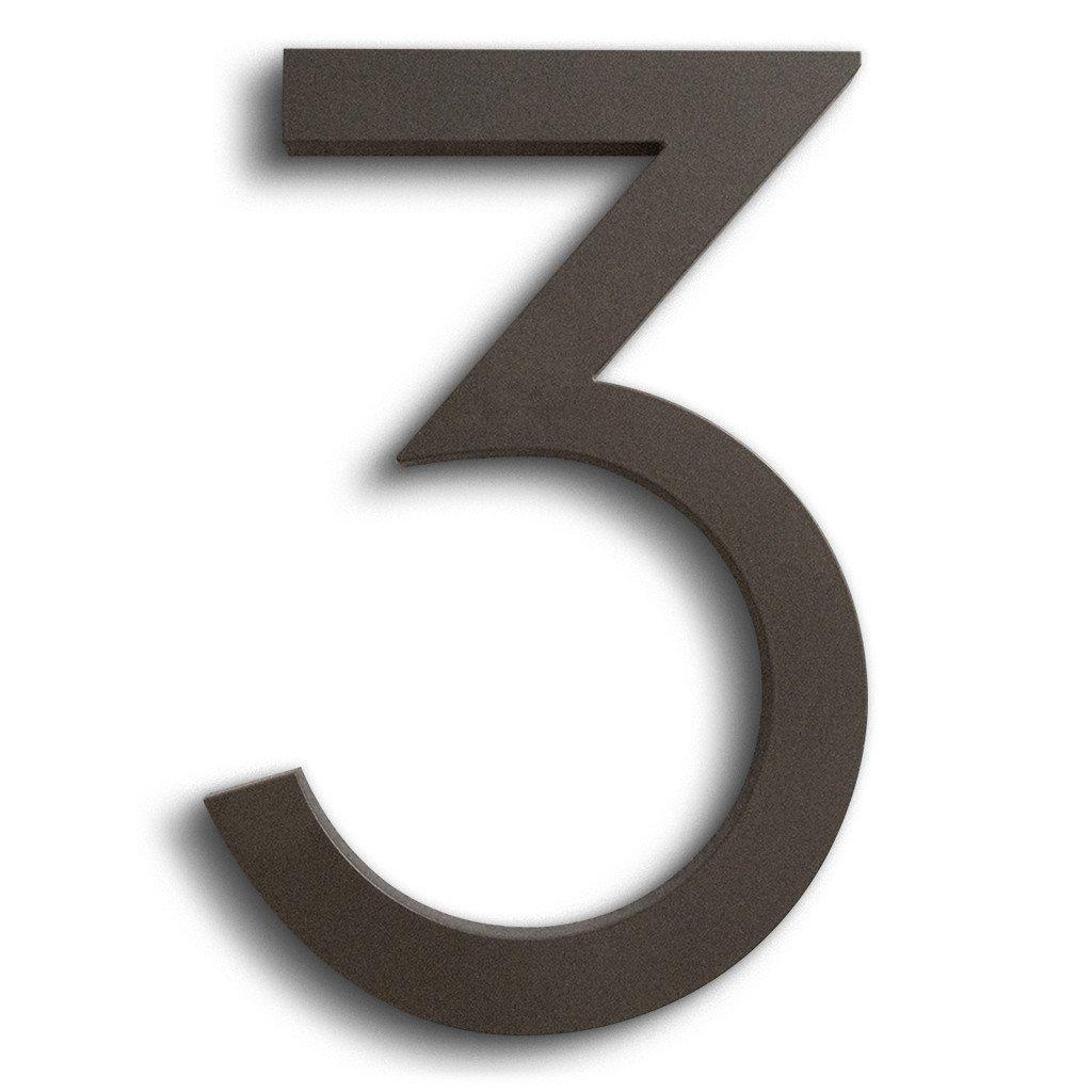 Modern House Number Bronze Color Aluminum Modern Font Number Three''3'' 6 inch