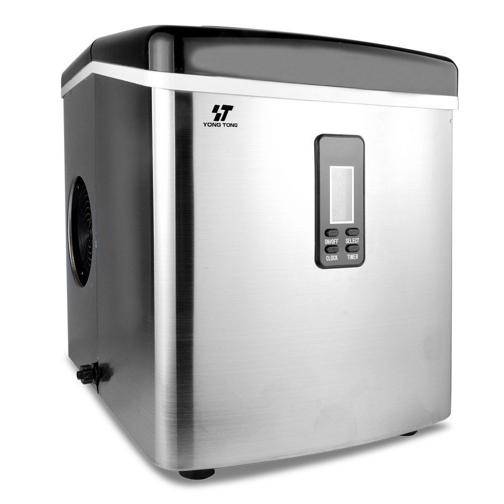 Yongtong Ice Maker, Countertop Icemaker Automatic Machine Producing 33Lbs per Day - 3 Selectable Cube Sizes - with Easy-Touch Buttons & LED Display, Stainless Steel, 3.3L(3.5QT) Capacity (Silver)