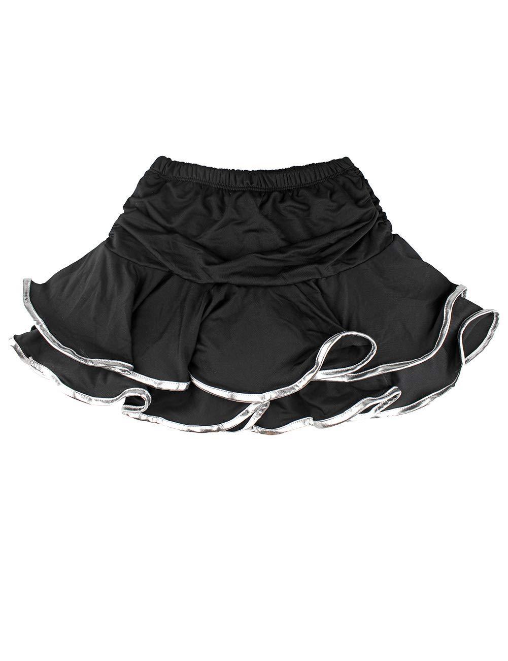 Daydance Girl's Dance Skirt Latin Ballroom Samba Tango Practice Dress with Boy Shorts 9 Colors Black-Silver by Daydance