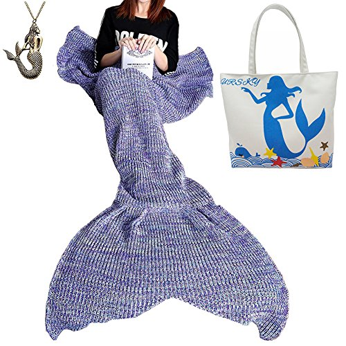 URSKY Crochet Knitted Sofa Living Room Mermaid Tail Blanket, Cozy and Soft All Season Mermaid Tail Pattern Throw Sleeping Bag For Adult, Teens and Child (71