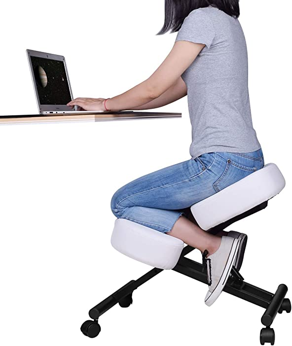 Ergonomic Kneeling Chair, Adjustable Stool for Home and Office - Improve Your Posture with an Angled Seat - Thick Comfortable Cushions - White