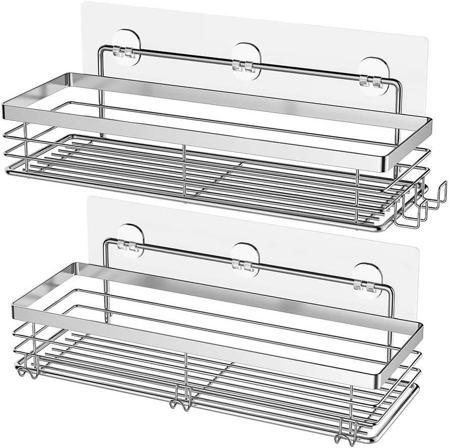 Orimade Shower Caddy with 5 Hooks for Hanging Razor and Sponge Adhesive Shower Shelf Bathroom Organiser Storage Kitchen Rack No Drilling Stainless Steel - 2 Pack
