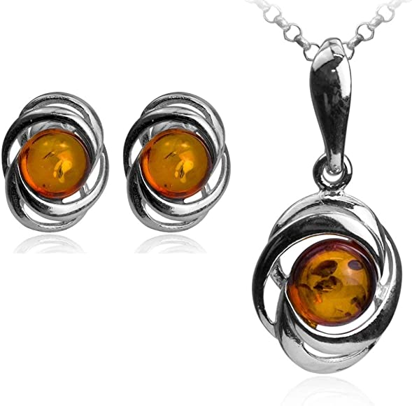 18 Honey Amber Sterling Silver Round Set with Chain Earrings and Pendant Necklace