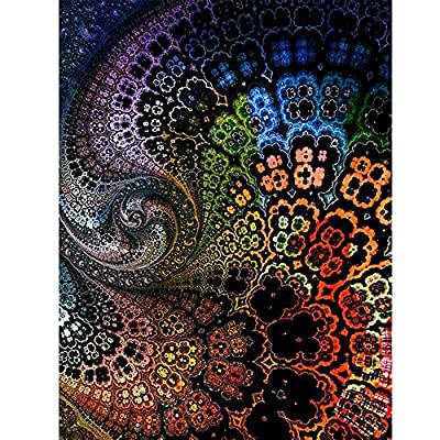 Onefa 5D DIY Diamond Painting Cross Stitch Rhinestone Broidery Full Square Drill Peacock Flower Pattern for Wall Decoration