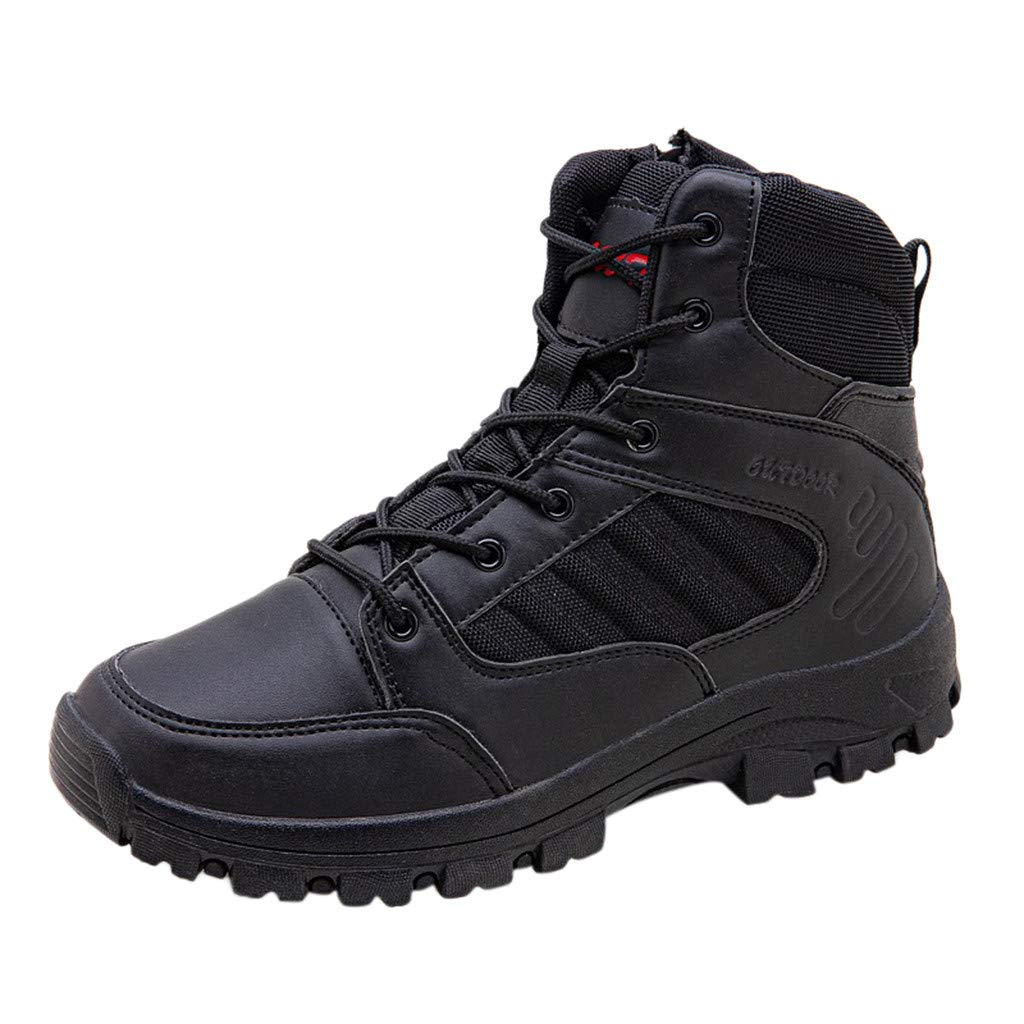 Fheaven Mens Lightweight Military and Tactical Boot Lace up Durable Desert Outdoor Hiking Boots Black by Fheaven-shoes