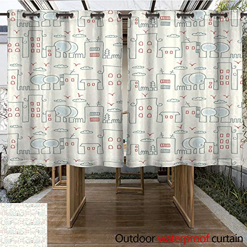 WinfreyDecor Outdoor Curtains for Patio Waterproof Seamless Pattern with a City Skyline W108 x L72 -