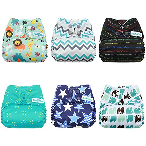 Mama Koala Pocket Cloth Diapers, 6 pcs + 6 Inserts, Jagger, One Size