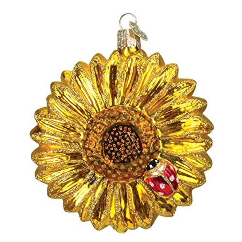 Old World Christmas Glass Blown Ornament with S-Hook and Gift Box, Flower Collection (Sunflower) 4 Inch Glass Basketball Ornament