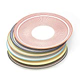 Sunbright Porcelain Dinner Plates for Salads,Pasta, Set of 6 Assorted Colors,10-1/4 Inch