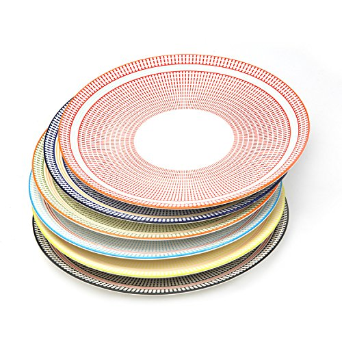 Sunbright Porcelain Dinner Plates for Salads,Pasta, Set of 6 Assorted Colors,10-1/4 Inch -