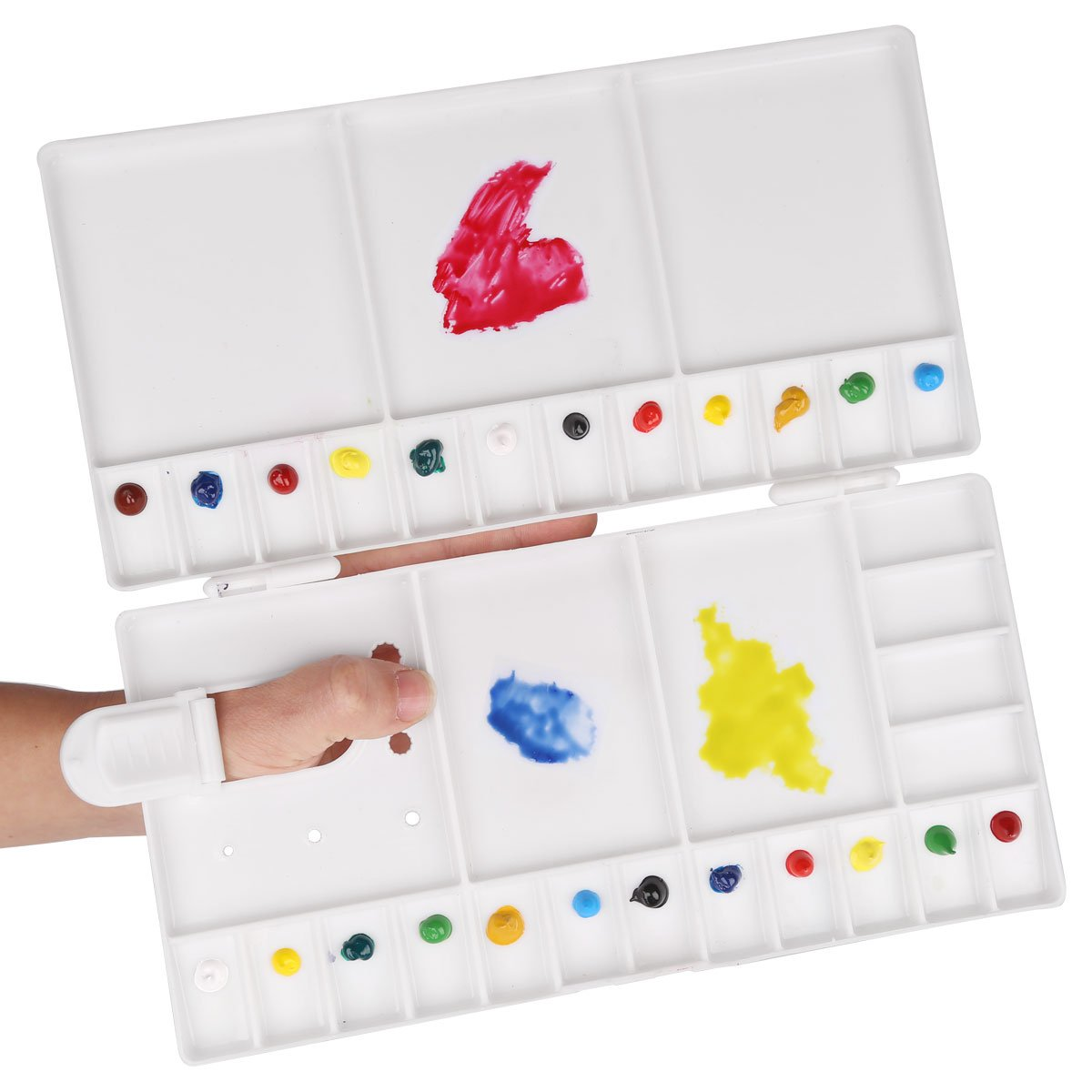Transon Large Paint Palette Box 33 Wells for Watercolor,Gouache, Acrylic and Oil Paint with 1 Paint Brush Transon Art Materials RD-33