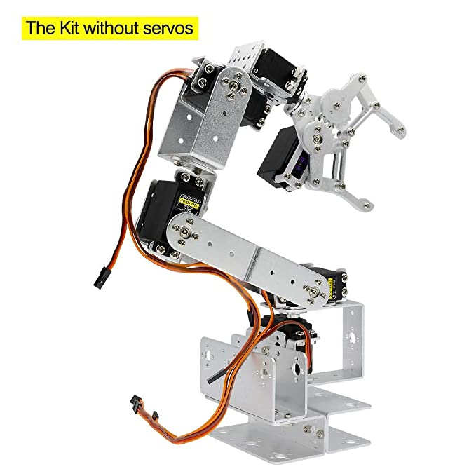 perfk YELLOW DIY Robotic Arm Kit 6-Axis Servo Control with 996R 90S