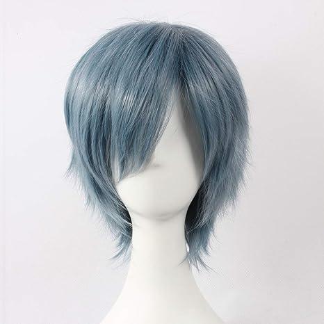 HOOLAZA Peluca recta corta azul Toya Akira para la fiesta de ...