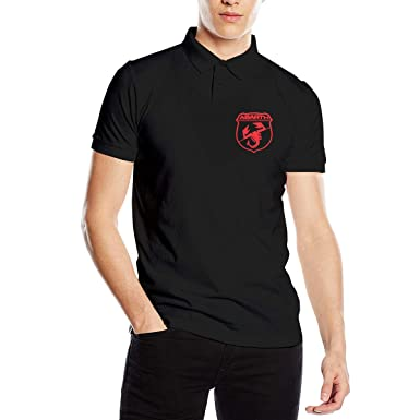 e51b6b9a1 HANRUI Designed T Shirt Abarth Logo Red New Polo Shirt for Man 100% Cotton  V-Neck Black at Amazon Men's Clothing store: