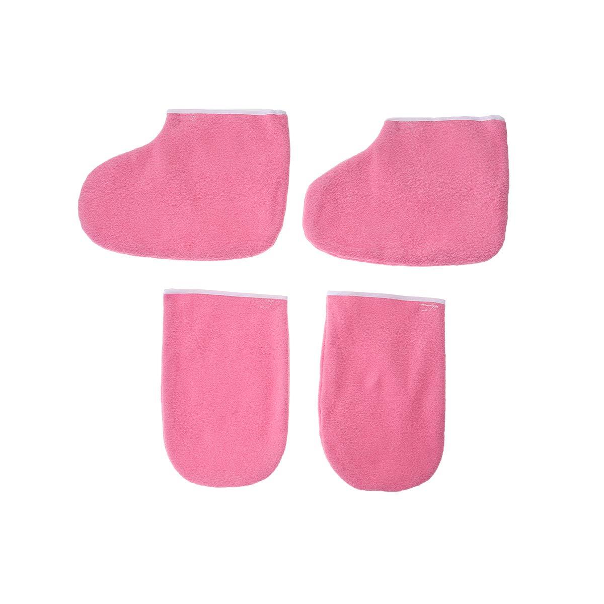 Lurrose 2 paia guanti guanti di stoffa stivaletti piedi mano paraffina Warmer WaxCare Set