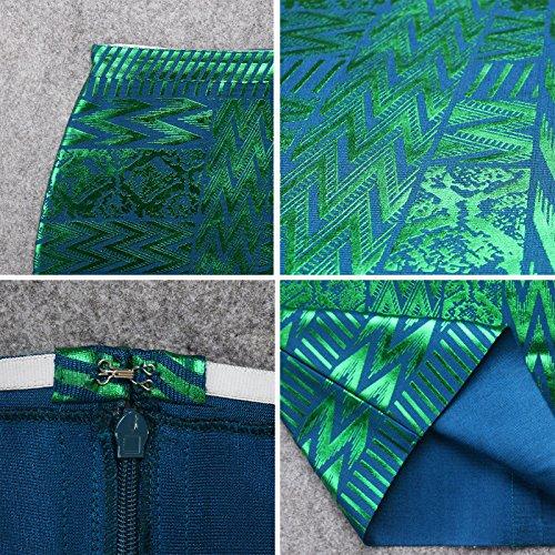Pu Arabesquitic Verde High Rayon Leather Bandage Hlbandage Waist Skirt pq6dwfgC
