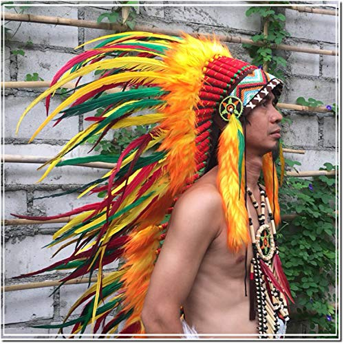 0403d6d2038 Multi-color Carnival Party Feather Headdress Native American Indian  Headdress Warbonnet Feather Hat Halloween Christmas festival Party hat  Halle Moto -M