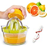 GEHARTY Citrus Juicer, Lemon Orange Juicer Lime Manual Press Hand Squeezer 4-in-1 Non-Slip Kitchen Fruit Juicer with Built-in Measuring Cup and Grater, 12OZ, Green