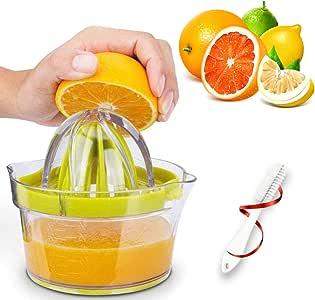 GEHARTY Citrus Juicer, Lemon Orange Juicer Lime Manual Press Hand Squeezer 4-in-1 Non-Slip Kitchen Fruit Juicer with Built-in Measuring Cup and Grater, 12OZ, Green