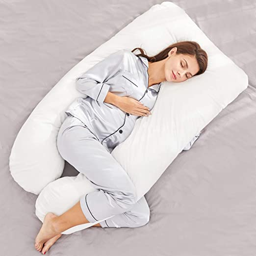 Extra Comfort U-Shaped Pregnancy Pillow Case Maternity Full Body Support White