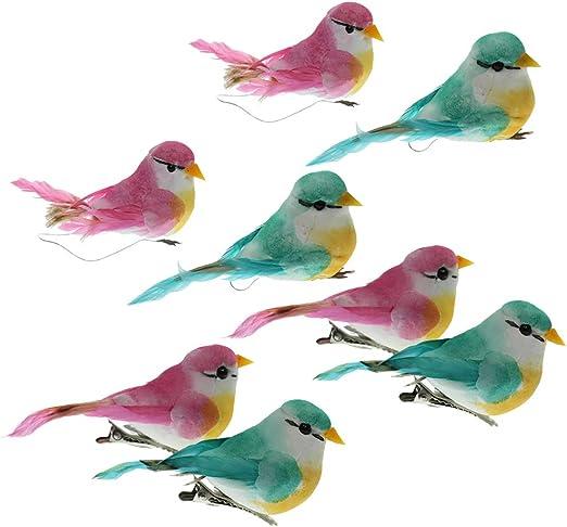 4 Piezas Pájaros Decorativos con Plumas Estatua de Aves Animales Artificiales para Decorar Jardín, Jaulas, Árboles: Amazon.es: Jardín