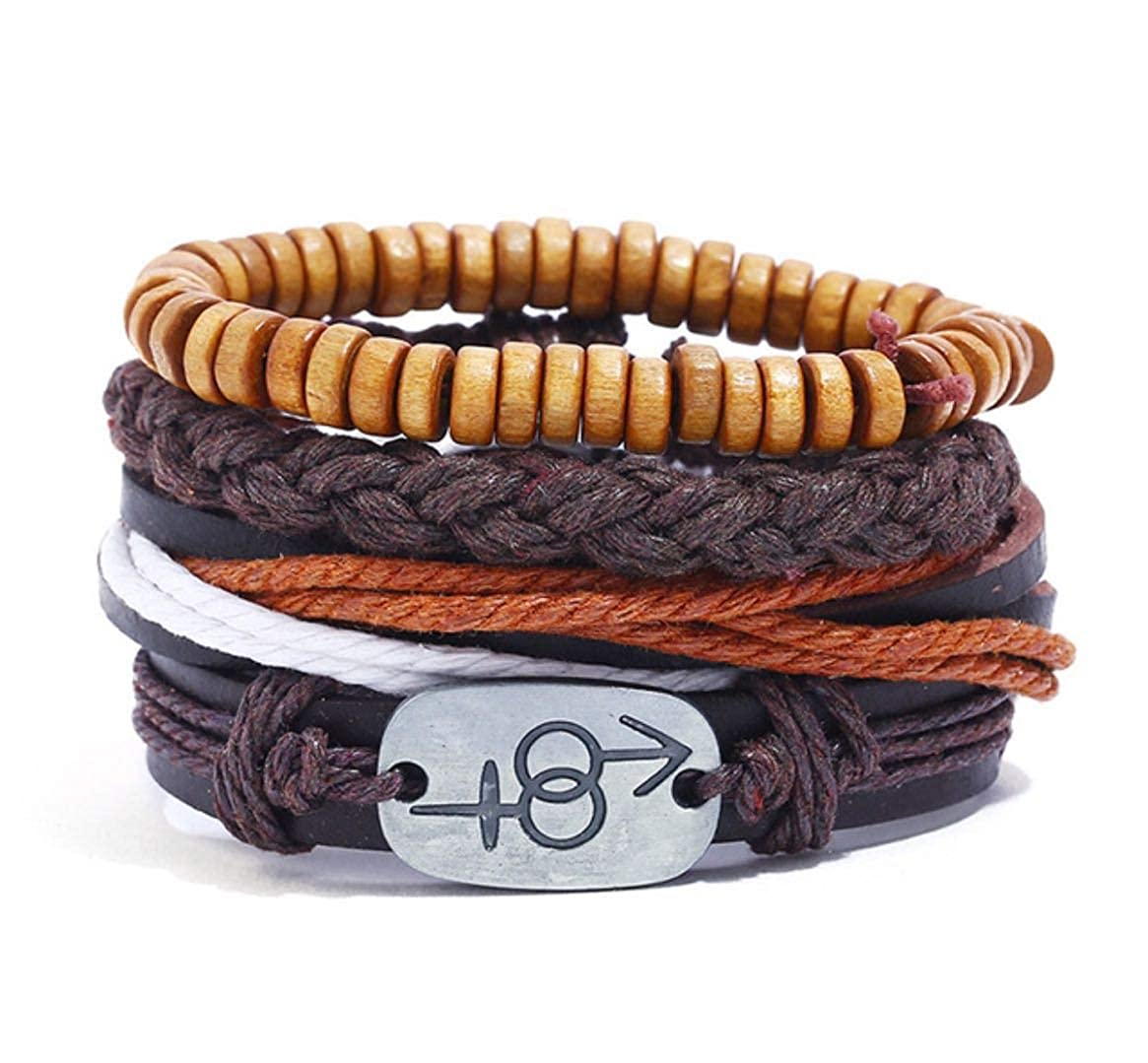 Adjustable Cuff Wristbands Men and Women Black WeRock Mix 4 Wrap Leather Bracelets Wood Beads