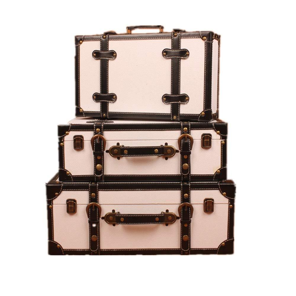 Holz-Schatztruhe Set von 3 Navy Aufbewahrungskoffer Europäische Retro Koffer Fenster Dekoration Anzeige Dekoration Ornamente, for Schlafzimmer, Wohnzimmer ( Farbe : Weiß , Größe : Large+middle+small )
