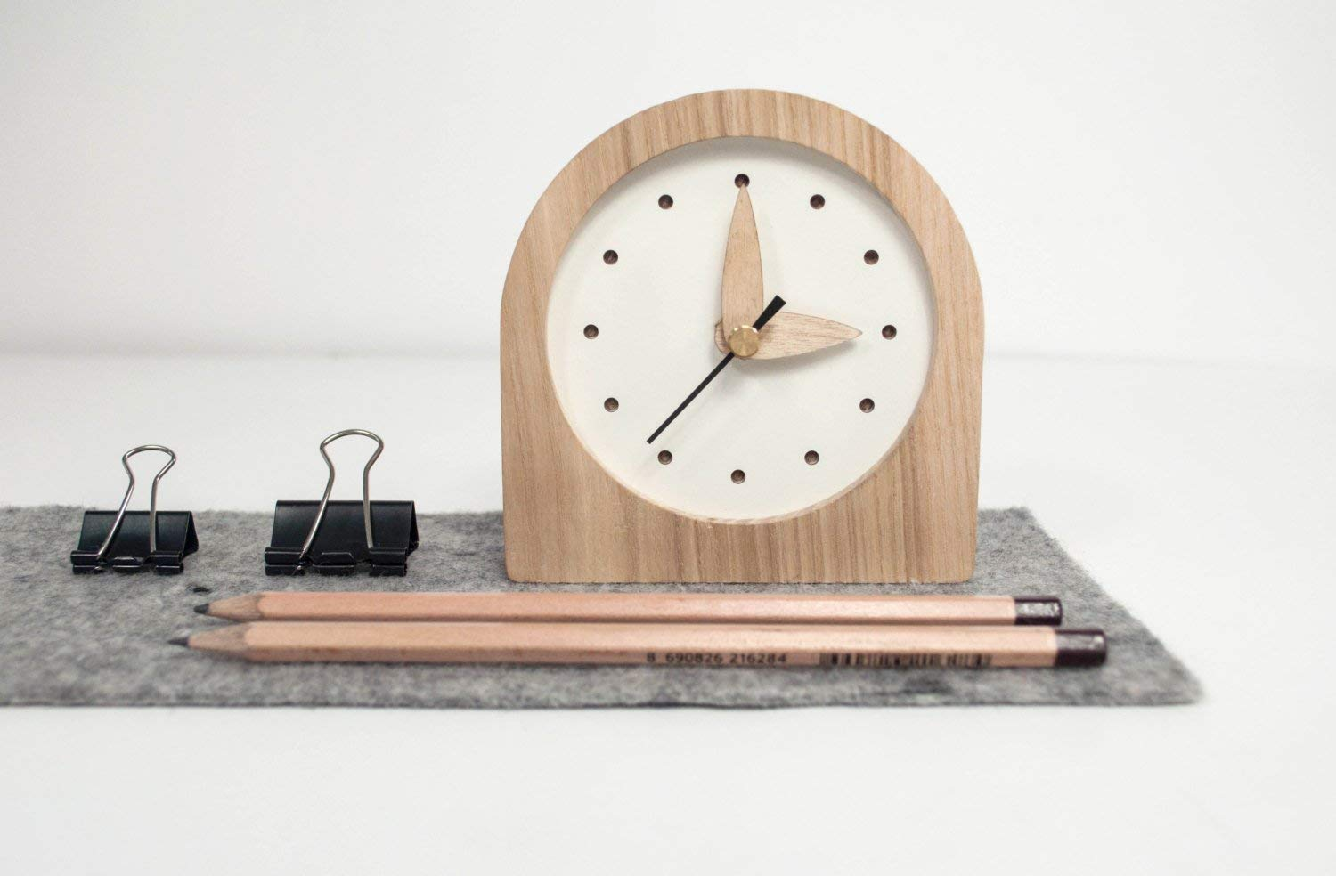 Small Wooden Clock - White Color And Natural Frame Wood - Oak Wood Mini Clock - Desk Mini Clock - Night Table Clock - Father Day Gift - Office Desk Clock - Rustic Table Clock