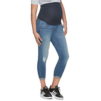 1633fbd2df8 a glow Maternity Belly Panel Faded Capri Jeans at Amazon Women s Clothing  store