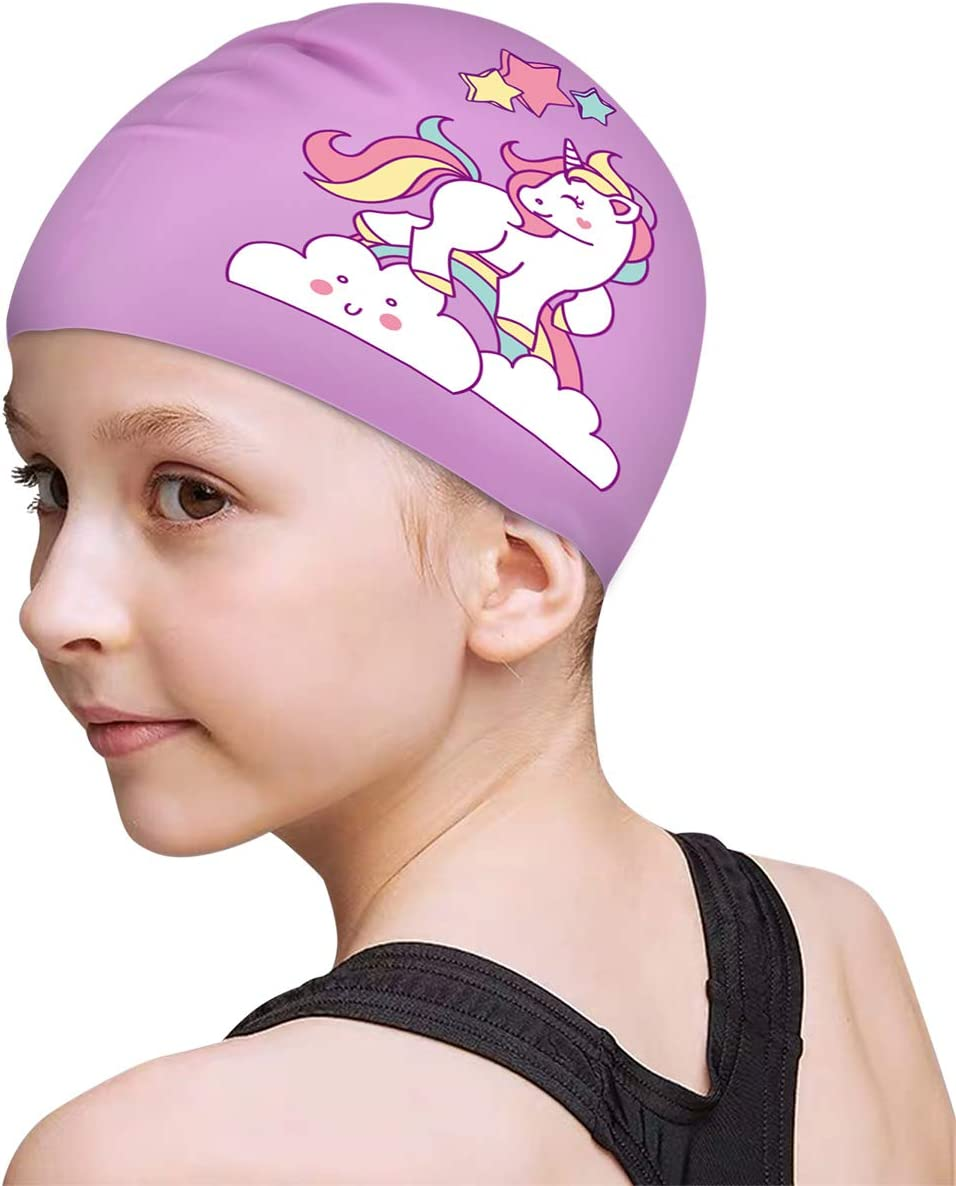 Children Boys and Girls Aged 2-8 FUNOWN Kids Swim Caps for Kids Baby Waterproof Bathing Caps for Long and Short Hair