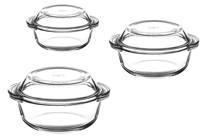 Juego de 3 fuentes de cristal redondas con tapa, 6 piezas: Amazon ...