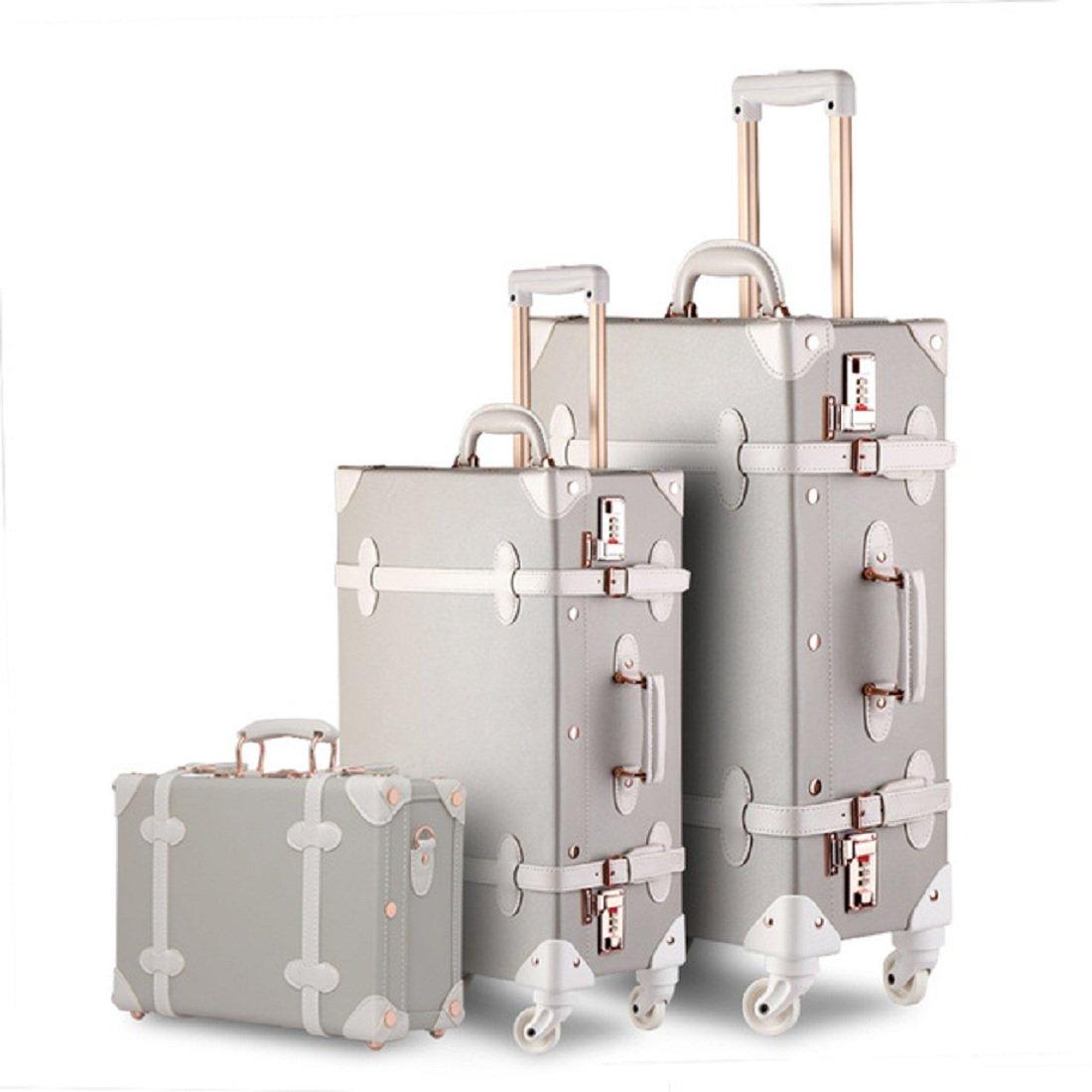 d33d93bd747b Details about UNIWALKER Vintage Suitcase 3 Piece Luggage Set (Grey with  white)
