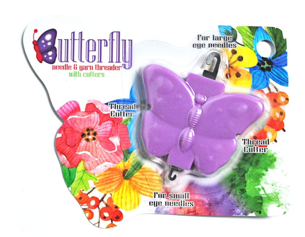Butterfly Needle and Yarn Threader with Cutters Green