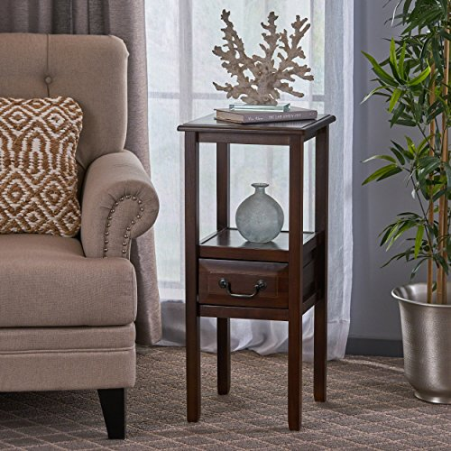 Great Deal Furniture 295250 Noah Brown Mahogany Acacia Wood Accent Table w/Bottom Drawer,