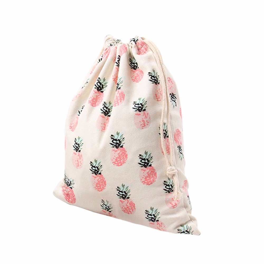 Clearance Deal! Fitfulvan Pineapple Printing Drawstring Beam Port Storage Bag Travel Bag Gift Bag (S)