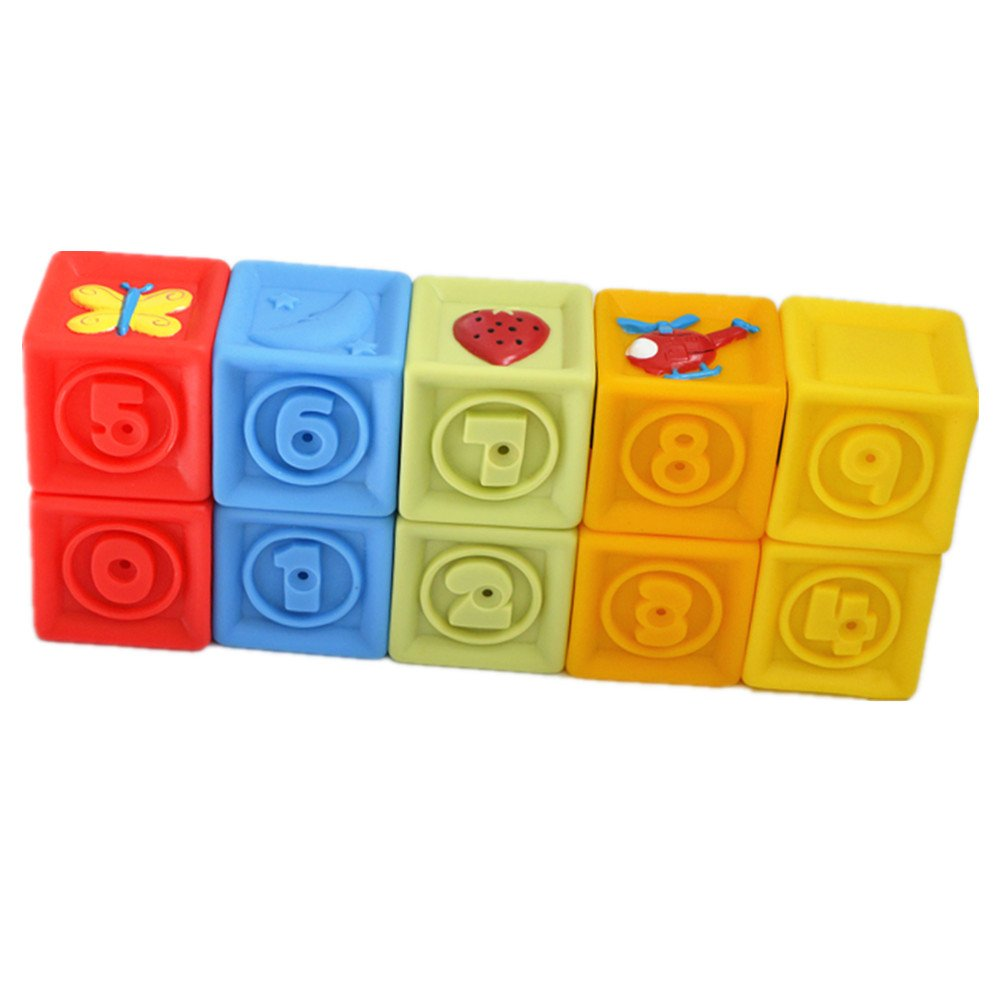 Fortunewill Squeeze and Stack Block Set (set of 10) Soft Baby's Toys Bath Toys Building Blocks Brilliant Basics Baby's First Blocks