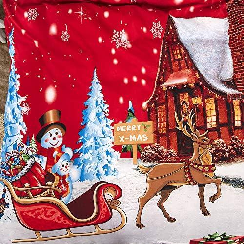 JSDJSUIT Haute qualité 100% Polyester Cadeau de noël 3 pièces Ensemble de literie de noël Housse de Couette taie d'oreiller Twin Full Queen King,228x228cm