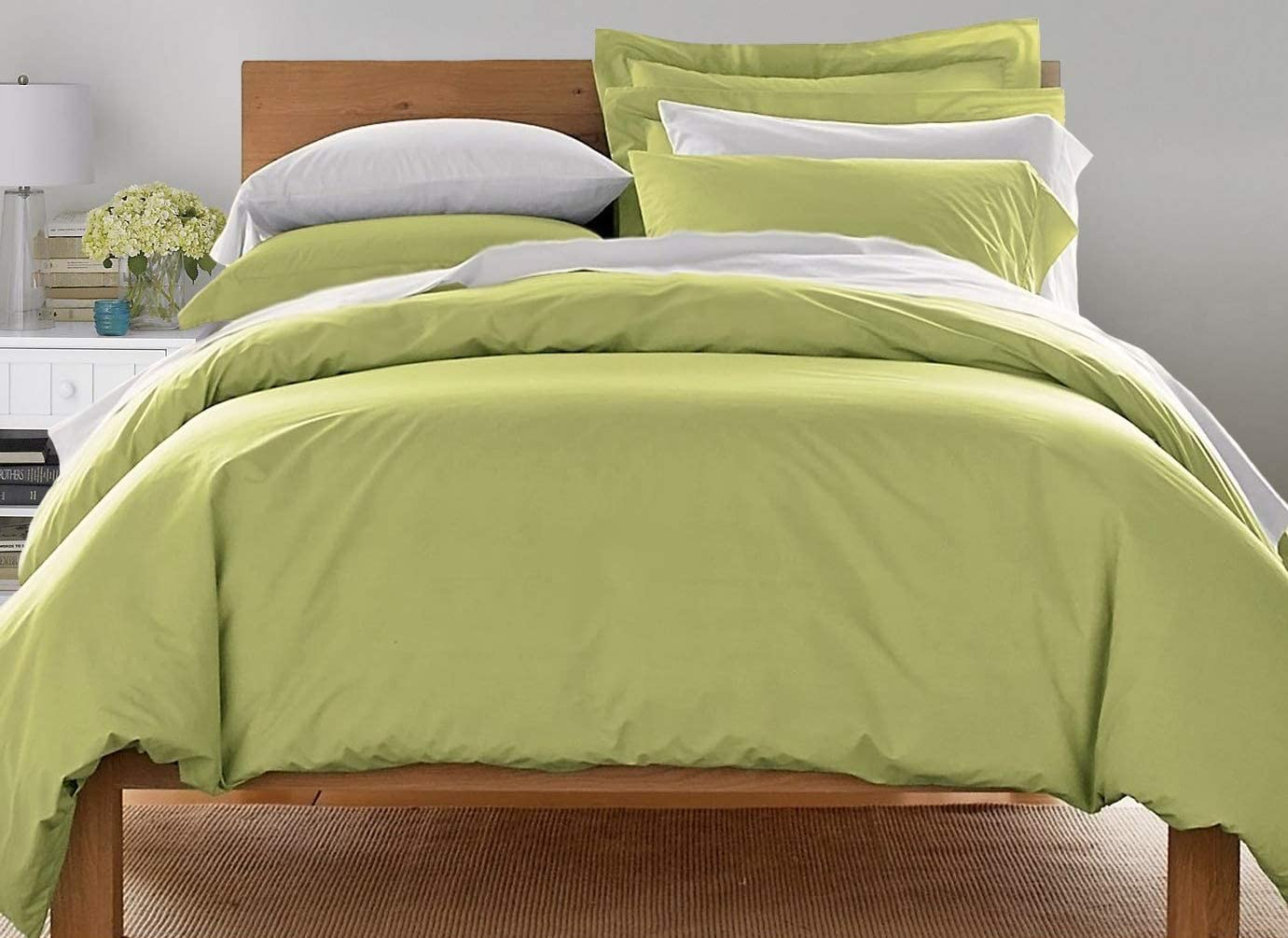 Blue Ridge Home Fashions Light-Weight Brushed Microfiber 3 Piece (1 2 Shams) -Ultra Soft Duvet Cover Set, King, Green