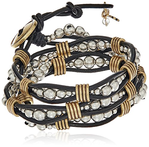 Boho-Chic Vacation & Fall Looks - Standard & Plus Size Styless - Lucky Brand Two Tone Beaded Wrap Bracelet