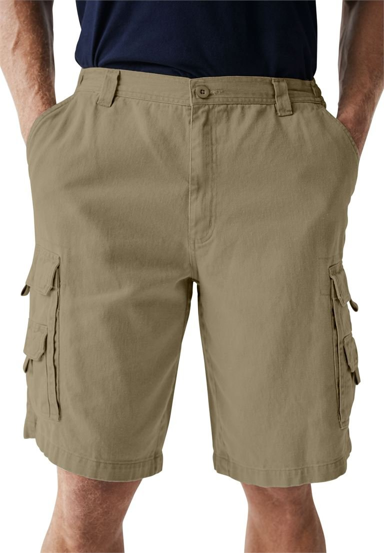 Boulder Creek Men's Big & Tall Marine 12'' Side Elastic Cargo Shorts, Dark Khaki