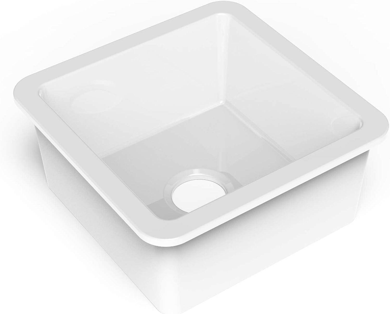 Single Bowl Crisp White with Care IQ Kit Fireclay Bar Prep Sink Sinkology SP400-18FC-AMZ Eden Undermount 18.1 in
