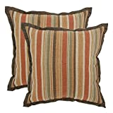 18 in. Cayenne Stripe Outdoor Toss Pillow with Flange (2-Pack)